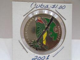 "Cuba, Un Peso 2001, ""FAUNA CUBANA"" "" LA COTORRA "", UNC, MINT. Gracias Por Visitar Mi Pagina. - Cuba"