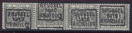 Nr. TX16A Strip Van 4 Waarbij 2 X ** MNH Voorafgestempeld  BRUSSEL 1919 BRUXELLES In Goede Staat ! Verkoop Aan 95 € ! - Precancels