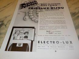 ANCIENNE PUBLICITE FRIGELUX BIJOU DE ELECTRO-LUX 1932 - Technical