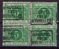 Nr. TX12A Blok Van 4  ** MNH Voorafgestempeld  BRUSSEL 1919 BRUXELLES In Goede Staat ! Verkoop Aan 65 € ! - Precancels