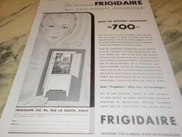ANCIENNE PUBLICITE DE NOUVEAUX  FRIGIDAIRE  1932 - Technical