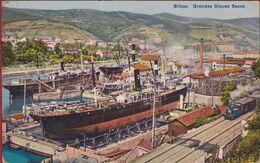 Bilbao Grandes Diques Secos Droogdokken Ship Yard Train à Vapeur Boat Vessel Espana Espagne Spanje CPA Postcard - Vizcaya (Bilbao)