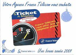 TICKET TELEPHONE-FRANCE-PU08G-2000-ECHANTILLON 3Mn-COMPTEUR 1 Non Gratté-avec ENCART-NEUF-TBE - Frankreich