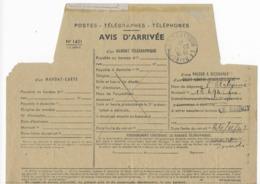 Avis D' Arrivée Mandat Télégraphique Recommandé Pour Valeur à Recouvrer Oblitération Le Raincy Banlieue Est 1947 - Telegraph And Telephone