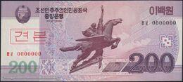 TWN - NORTH KOREA 62a2-SP - 200 Won 2008 (2009) Specimen 0000000 - Prefix ㅂㅍ UNC - Corea Del Nord