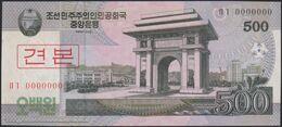 TWN - NORTH KOREA 63a2-SP - 500 Won 2008 (2009) Specimen 0000000 - Prefix ㅁㄱ UNC - Corea Del Nord