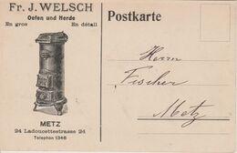 57 - METZ - CARTE PUBLICITAIRE ETS WELSCH - FOURNEAUX ET CUISINIERES - Metz
