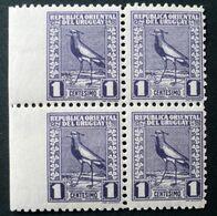 1927 URUGUAY Mnh VARIETY VARIETE-block Of 4 Imperforate Left Edge - Bird Tero Teru Pajaro Ave Oiseau Vogel - Yv 334 - Uruguay