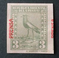 1926 URUGUAY New VARIETY VARIETE- Double Overprint Prensa - Bird Tero Teru Pajaro Ave Oiseau Vogel - Yv 321 - Uruguay