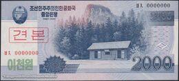 TWN - NORTH KOREA 65a2-SP - 2000 2.000 Won 2008 (2009) Specimen 0000000 - Prefix ㅂㅊ UNC - Corea Del Nord