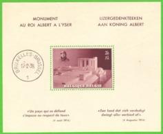 """Belgique  1938 -  """"KING ALBERT MONUMENT"""" Bloc 8 Cote € 62.00 - Nuovi"""