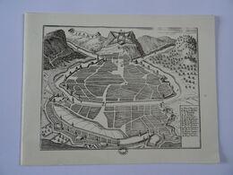 DOUBLE CARTE MAXI GRAVURE PLAN DE BISANTZ  BESANCON    TBE - Autres Collections