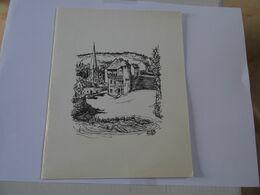DOUBLE CARTE MAXI Estampe Dessin A Retrouver Signé Maurice Bourgne TBE - Autres Collections
