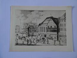 DOUBLE CARTE MAXI Estampe STRASBOURG Rue Du Vieux-marché-aux-poissons D'après Une Gravure Vers 1800  TBE - Autres Collections