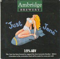 AMBRIDGE BREWERY  (INKBERROW, ENGLAND) - JUST JANE - PUMP CLIP FRONT - Uithangborden