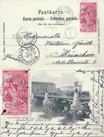 """AK  """"Genève - Les Mouettes"""" - München  (UPU Frankatur)          1900 - Covers & Documents"""