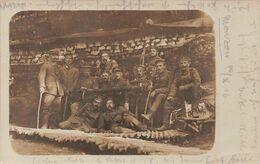 Carte Postale Photo Militaire Allemand MOUZON-08-Ardennes-Sedan-Carignan-Abris Allemand-Guerre 14/18 Krieg-Briefstempel - Andere Gemeenten