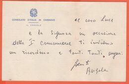Consolato D'Italia In Chisimaio Somalia - Busta Con Timbro E Biglietto Di Auguri Autografo - Old Paper