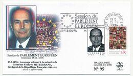 FRANCE - Env. Commémo. Hommage à François MITTERRAND - Vignette + OMEC Strasbourg C.E Session Parlement 15/1/1996 - Lettres & Documents