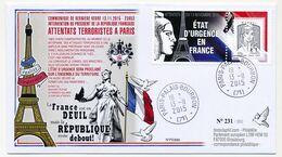 "Env. Avec Porte-timbre ""Etat D'Urgence En France"" Marianne Ciappa Ecopli - Obl Palais Bourbon 13/11/2015 - 2013-... Marianne De Ciappa-Kawena"