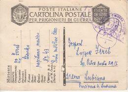 5968    POSTKARTE    PRIGIONIERI   DE  GUERRA  PROVINCIA   DI  LUBIANA  1943    -- - Slovenia