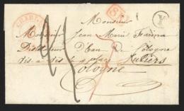 """L. Càd CHARLEROI/1842 + SR + Boîte Rurale """"Y"""" De JUMET + 25 + 7 Pour Cologne. - 1830-1849 (Unabhängiges Belgien)"""