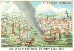 CHROMO CHOCOLAT LOMBART  AU FIDELE BERGER LES ANGLAIS REPOUSSES DE SAINT MALO 1373 - Lombart