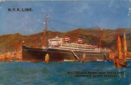 "T.P. NO CIRCULADA , BARCOS , SHIPS , N.Y.K. LINE , "" TATSUTA MARU "", CALIFORNIA - ORIENT SERVICE - Passagiersschepen"