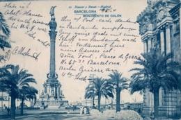 1904 , TARJETA POSTAL CIRCULADA , BARCELONA - MONUMENTO A COLÓN , HAUSER Y MENET - Barcelona
