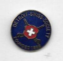 Pin's  Sport  HOCKEY, DETROIT - SWISS - SOCIETY - FOUNDED  1868 - Sport Invernali
