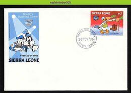 Nfe3982zb WALT DISNEY DONALD GETS DRAFTED MEASURING A UNIFORM TAILOR SIERRA  LEONE 1984 FDC - Disney