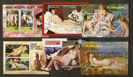 Guinée Equatoriale - Tableaux - Nus Artistiques - Petit Lot De 6 Blocs° - Rubens - Renoir - Manet - Delacroix - Kilowaar (max. 999 Zegels)