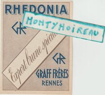 V P :  DE 53 : étiquette  Vin :  Rhedonia , Graff  Frères  Rennes - Ohne Zuordnung