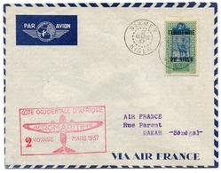RC 18411 NIGER 1937 LETTRE 2eme VOYAGE AEROMARITIME NIAMEY - DAKAR SÉNÉGAL 1er VOL FFC - TB - Covers & Documents