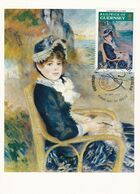 Carte Maximum  Peinture Sculpture Guernesey 1974 Auguste Renoir - Guernsey