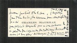 CHARLES MAURRAS . CARTE DE VISITE - Autogramme & Autographen
