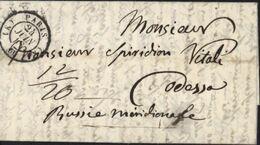 Destination Odessa En Russie CAD Paris (K) 24 6 1848 Taxe Manuscrite 12/20 - 1801-1848: Vorläufer XIX