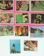 AUTOCOLLANT STICKER.  LA  VACHE QUI RIT.  PETER  ET  ELLIOTT  LE  DRAGON  LOT DE 11 STICKERS  1978 - Stickers