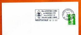 PARIS BUTTE AUX CAILLES    BIRHAKEIM   1° DIVISION FRANCE LIBRE 1992 Lettre Entière N° KL 596 - Annullamenti Meccanici (pubblicitari)