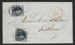 Brief Met Inhoud (pli),  Met Nr 7 X 2 Zeer Mooi Gerand Van P45 Gand Naar Kerkhove. ( Kwaliteit Zie Scans). - 1851-1857 Medaillons (6/8)