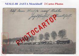 NESLE-Terrain D'Aviation-JASTA MENCKHOFF-Avions-2x CARTES PHOTOS Allemandes-Guerre-14-18-1 WK-Militaria-Fliegerei-France - Nesle