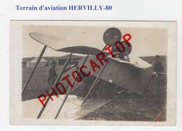 HERVILLY-Terrain D'Aviation-Avion Capote-CARTE PHOTO Allemande-Guerre-14-18-1 WK-Militaria-Fliegerei-Aviation-FRANCE-80 - Autres Communes