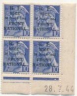 FRANCE - Série De NICE / R.F. 12 Août 1944 / Front National - Neufs En Coins Datés - SUP - Liberation