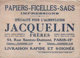 Buvard Ancien/ Papiers-Ficelles-Sacs/Spécialité Pour L'Alimentation/JACQUELIN Fréres/Paris XV/Vers 1930- 1950    BUV468 - Stationeries (flat Articles)