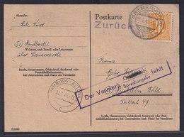 Besetzung Bizone AM Post Brief Karte Mit Viol R 2 Der Vermerk Sprachangabe Fehlt - Bizone