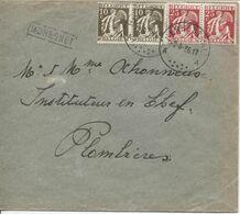 REF1706/ TP 337(2)-339(2) S/L. C.Herbesthal 2/8/36 + Griffe Encadrée Moresnet Noire > Plombières - Linear Postmarks