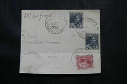 """ESPAGNE - Oblitération """" Valeurs Déclarées Bureau D'échange """" Sur Fragment D'enveloppe Pour Paris En 1930  - L 70038 - Briefe U. Dokumente"""