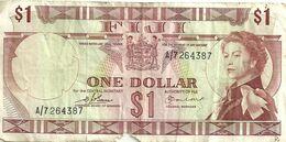 FIJI $1 BROWN QEII HEAD FRONT & LANDSCAPE BACK ND(1971)P.71b F READ DESCRIPTION!! - Fiji