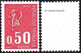 France Marianne De Béquet N° 1664 A ** Variété Gomme Tropicale, Le 0f50 Rouge - 1971-76 Maríanne De Béquet