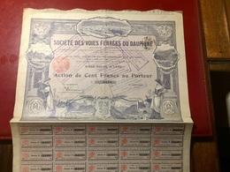 Sté Des  VOIES  FERRÉES  Du  DAUPHINÉ -------------Action  De  100 Frs - Railway & Tramway